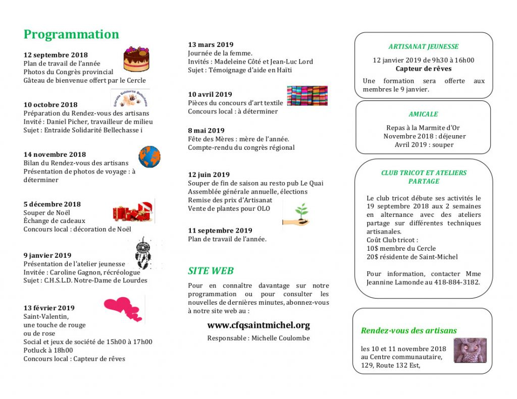 Programmation des activités 2018-2019
